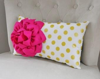Recliner Pillows - Metallic Gold Polka Dot Lumbar Pillow Hot Pink Dahlia Flower on White Gold Polka Dot Home Decor Pillow 9 x 16