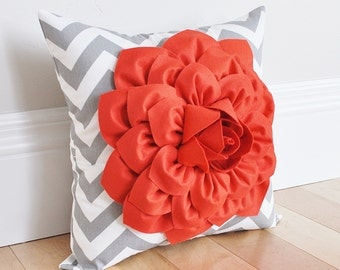 Coral Dahlia on Gray and White Zigzag Pillow -Chevron Pillow- Baby Nursery Pillow
