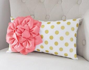 Coral Recliner Pillows, Lumbar Pillow, Gold Polka Dot Pillow, Nursery Pillow, Light Coral Flower Pillow, Rocking Chair Pillow, Accent Pillow