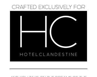 Hotel Clandestine travel set: Lotion, conditioner, and HC original fragrance oil