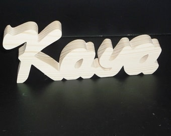 Name Sign 3 in . High x .75 in. thk 4 Letters Stand Alone  Unfinished  Wood Style 3 Stk No. N-3-.75-3-4-LC-SA