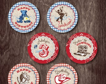 Western Cowgirl CUPCAKE TOPPERS  --  Personalized Birthday Party Printable Digital file