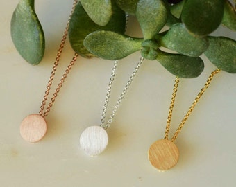 Round disc brushed metal necklace gold, silver disc necklace, rose gold brushed disc necklace, gold brushed disc necklace, brush metal disc