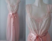 Vintage Nightgown, Vintage Nightgowns, 1950s Nightgown, 1950s Leonora Inc., Vintage Pink Chiffon Nightgown, Wedding, Romantic