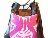 Otomi Embroidered Large Leather Tote Shoulder Bag Ready to Ship