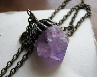 Amethyst necklace raw | crystal pendant | purple | crystal point | raw stone necklace