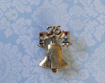 Liberty Bell Patriotic Red,White & Blue Rhinestone Pin Cracked Liberty Bell