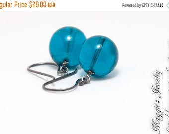 ON SALE Teal Glass Drop Earrings, London Blue Glass Globe Earrings, Sterling Silver, Oxidized, Antiqued, For Her
