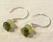 Dangle Earring, Woman's earrings, Green Kyanite Earrings, Sterling Silver Ear Wires, Natural Stone Earrings, Stone Earrings, Green,  E35