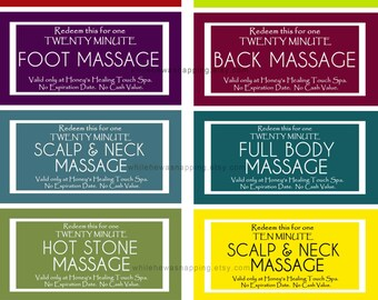 Massage Coupons for Him or Her - Instant Download