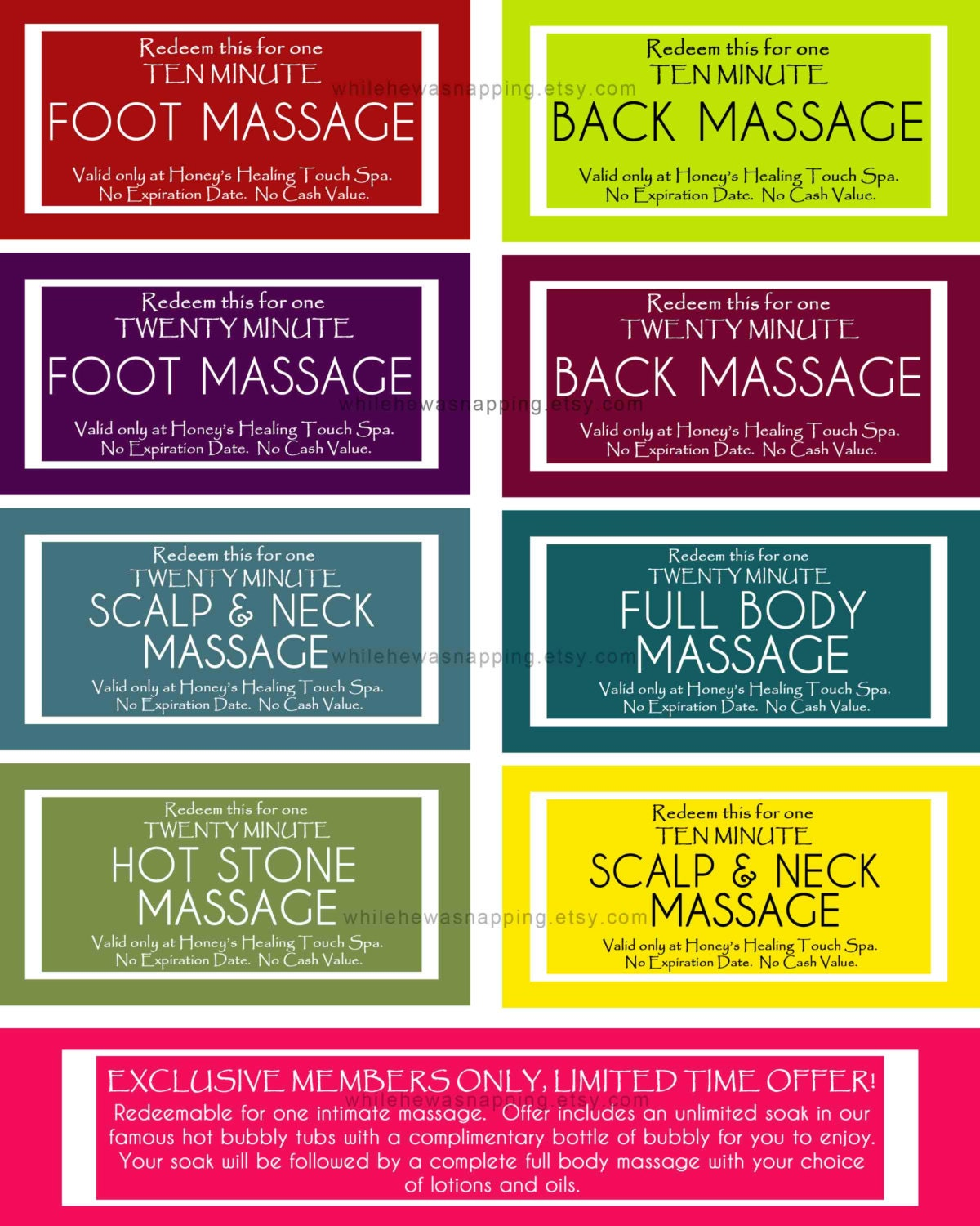 Massage coupons for him or her instant download for Massage gifts for her