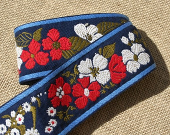 Vintage Red White and Blue Floral Jacquard Ribbon Trim Woven Cotton