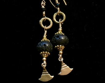 Black Volcanic Stone Beads w/Onyx and African Brass Earrings