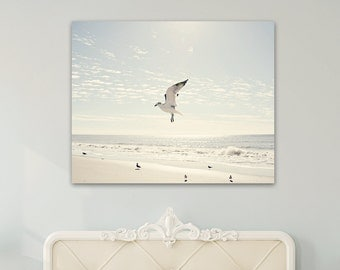 coastal canvas art shore birds beach photography large wall art seagulls light blue white beige canvas print nautical wall decor beach decor
