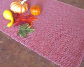 "Autumn or Winter Holiday Red Table Runner Artisan Handwoven Diamond Twill Rustic Cabin Country Farmhouse Cottage Home Decor 24"" L x 10.5"" W"
