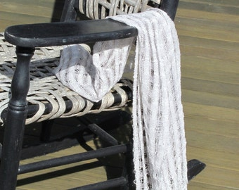 Summer Fashion Scarf, Beach Cottage Chic Country Rustic Urban Metro City Evening Scarf, Long Silver Gray White Handwoven Light Lacy Lattice