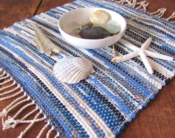 Rustic French Country Home Decor Nautical Blue Woven Cotton Table Mat, Beach Cottage Farmhouse Decor Cloth Table Cover, Small Woven Rag Mat