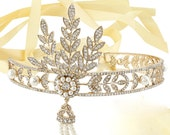 Gold Gatsby Headband, Gold Gatsby Headpiece, Deco Gold Headpiece, Deco Gold Headband, 1920s Gold Headband, 1920s Gold Headpiece