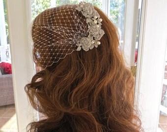 Bandeau  Bridal Veil, Wedding Birdcage Veil, Bridal Blusher Veil, Rhinestone Pearl Veil