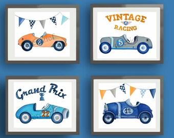 Race car art, vintage race car art prints, boy race car art, roadster art prints, children nursery art, race car wall art decor