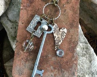 Vintage skeleton key charm necklace - One of a kind!
