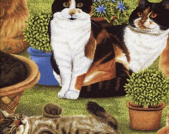 Feline Fine Garden - Willmington Prints - Half Yard