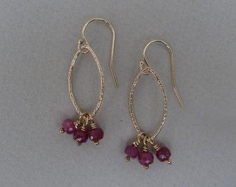 Ruby Earrings, Ruby And Gold Earrings, Artisan Earrings, Dainty Gemstone Earrings, Ruby Gold Earrings, Ruby Dangle Earrings, Gifts For Mom