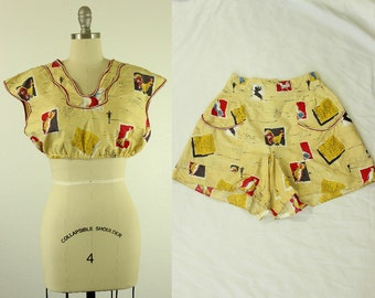"1940's Animal Farm Novelty Print Playsuit S M ""The Barnyard's Revenge"" Crop Top & Shorts Set"