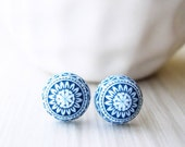 Navy Blue Post Earrings - Nickel Free Jewelry, Titanium Studs, White, Vintage Acrylic, Indigo