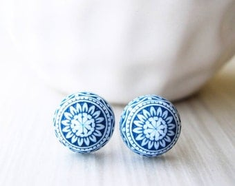 Navy Blue Post Earrings - Nickel Free Jewelry, Titanium Studs, White, Vintage Acrylic, Indigo