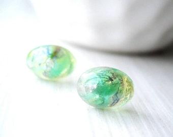 Nickel Free Post Earrings, Titanium Jewelry, Green Studs, Foil Glass, Dainty, Spring, Pastel,  Minimalist, Petite, Oval