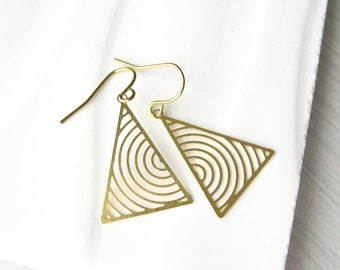 Brass Triangle Earrings - Geometric Jewelry, Dangle, Modern, Drop, Gold Toned, Metal, Contemporary