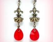 Art Deco Earrings Swarovski Crystal Earrings Art Nouveau Ruby Earrings Edwardian Jewelry Girlfriend Leverback Earrings Wife Red Jewelry