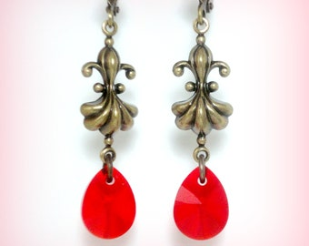Fleur De Lis Earrings - French Earrings - French Jewelry - Swarovski Earrings - Red Earrings - Vintage Earrings - Antique Style Jewelry