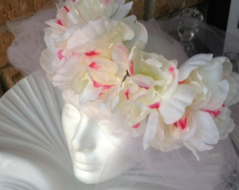 Tropical Large Silk Flower Bridal Crown - Choose from two different Colors