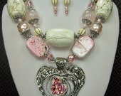 RESERVED FOR SHANI - Pink / White Jewelry / Cowgirl Western Necklace / Heart Pendant Necklace / Chunky Gemstone - LiLyBeLLe