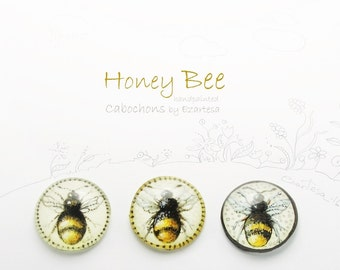 Honey Bee Hand Painted Cabochon, Original Painting of Bee by Ezartesa, Jewelry and Beading Supply Bumble Bee Glass Cabochon.