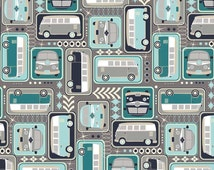 VW Vans Navy, Teal Gray - Keep on Groovin' from Riley Blake - Half Yard Retro Volkswagens