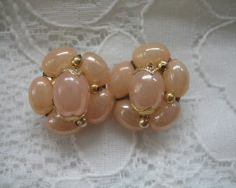 Vintage Cluster Earrings ~ Clip On ~ Pink Blush Plastic Beads