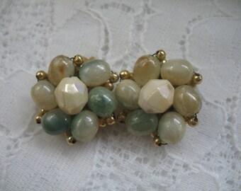 Vintage Cluster Earrings ~ Clip On ~ Pale Greens Plastic Beads