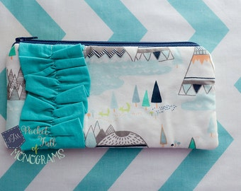 Indian Summer Woodland Pine Ruffle Zipper Accessory Pouch - Ready To Ship