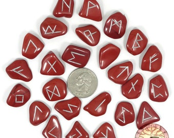 Small Red Jasper Rune Set Hand Carved Elder Futhark With Manual & Pouch