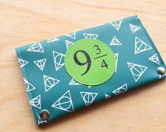 Hogwarts deathly hallows Vegan travel wallet