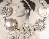 OOAK Oyster Ivory Pearl Rhinestone Bridal Bracelet Silver Antique Champagne Grey Vintage Cluster Earring Bracelet Art Deco Wedding Gift