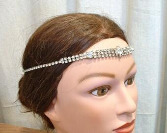 OOAK Vintage Downton Abbey Bridal Headband, Art Deco Flapper HeadPiece/Hairpiece Rhinestone Great Gatsby Forehead Head Band 1920s Crown Vine