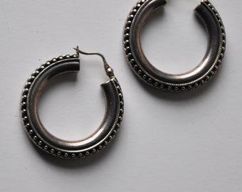 Vintage Sterling Silver Hoops Dangle  Earrings