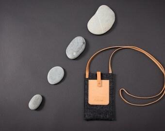 iPhone 6 case- shoulder strap-wool felt leather