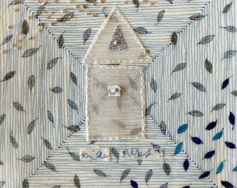 Mixed Media in Blue with House and Leaves  / The Art of Wonder, Suite 2 no.8