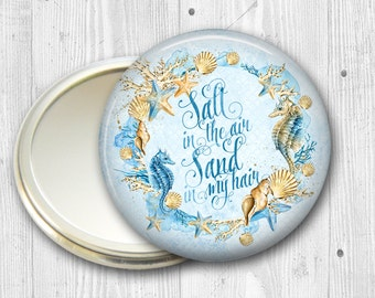 mermaid pocket mirror - beachy fashion accessory - beach themed bridesmaid gift, stocking stuffer - mermaid sayings - MIR-BCH-2
