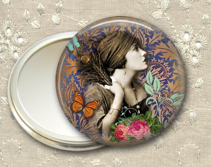 vintage lady pocket mirror,  original art hand mirror, mirror for purse, bridesmaid gift, stocking stuffer  MIR-726